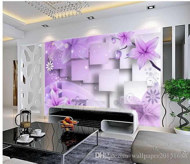 Décor à la maison Living Room Art Naturel Violet fleurs chaudes TV murale 3d papier peint 3d papiers peints pour tv toile de fond