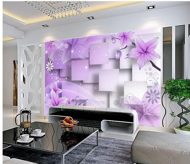 Ev Dekor Oturma Odası Doğal Sanat Mor sıcak çiçekler TV duvar duvar 3d duvar kağıtları 3d duvar kağıtları için tv backdrop