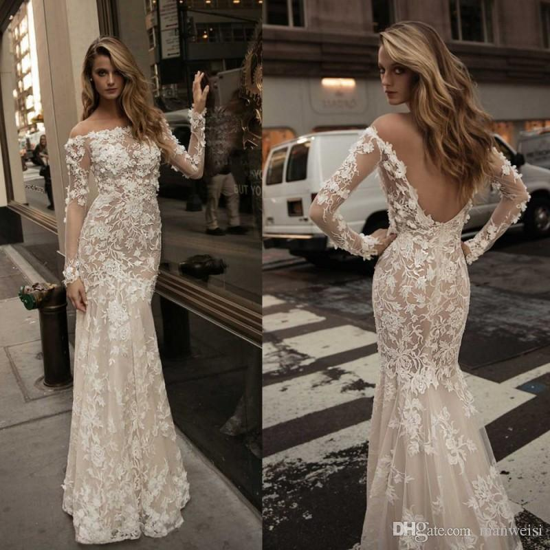 a76ce0616d73 Berta 2017 Mermaid Backless Wedding Dresses Long Sleeve Off Shoulder 3D  Floral Appliques Lace Bridal Gowns Plus Size Fishtail Wedding Dress Canada  2019 From ...