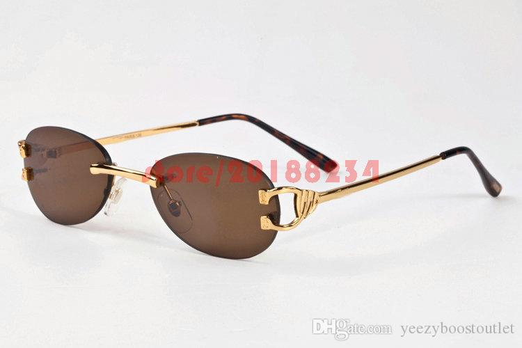 38a680412d Oval Round Rimless Men Women Sunglasses Metal Gold Frame Fashion Vintage  Buffalo Horn Glasses With Box Brand Lenes De Sol Prescription Sunglasses  Glasses ...