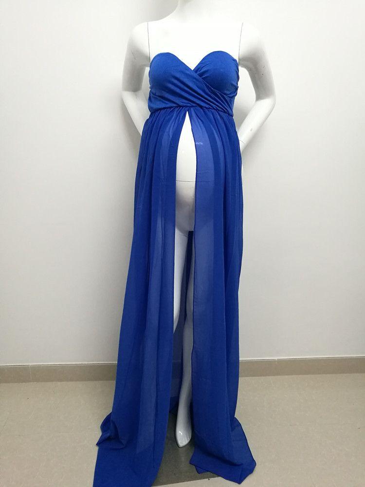 Горячая Продажа Материнство шифонового платье Split Front Maxi Фото Платье для фотосессии беременных женщин платья