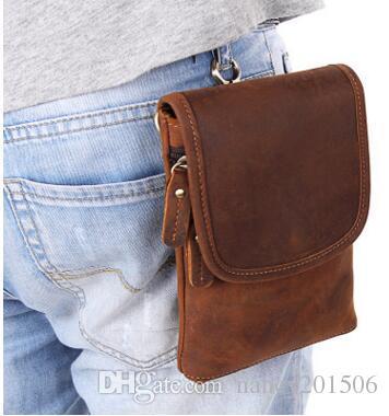 deb15132a322 New Designer Men 100% Genuine Leather Waist Bag Vintage Crazy Horse Cowhide Belt  Bags Men s Fanny Waist Pack Small Bag Waist Packs Online with  44.46 Piece  ...