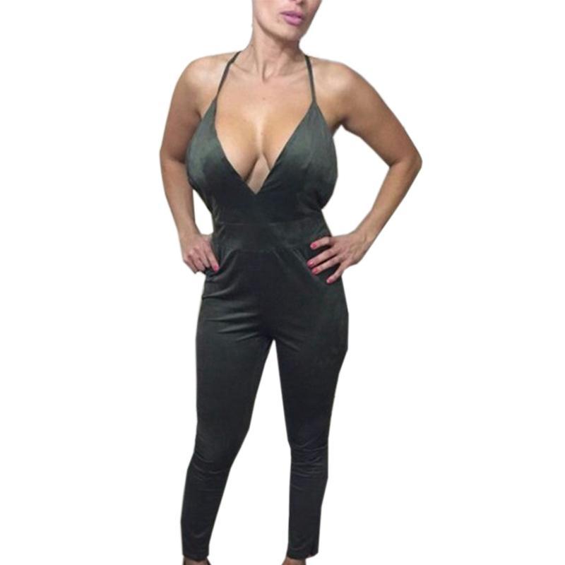 Seksi Kolsuz Uzun Tulum 5 Renkler Kadınlar Playsuit Derin V Boyun Backless Bodysuit Bodycon Seksi Macacao Romper Combinaison Femme WT32916