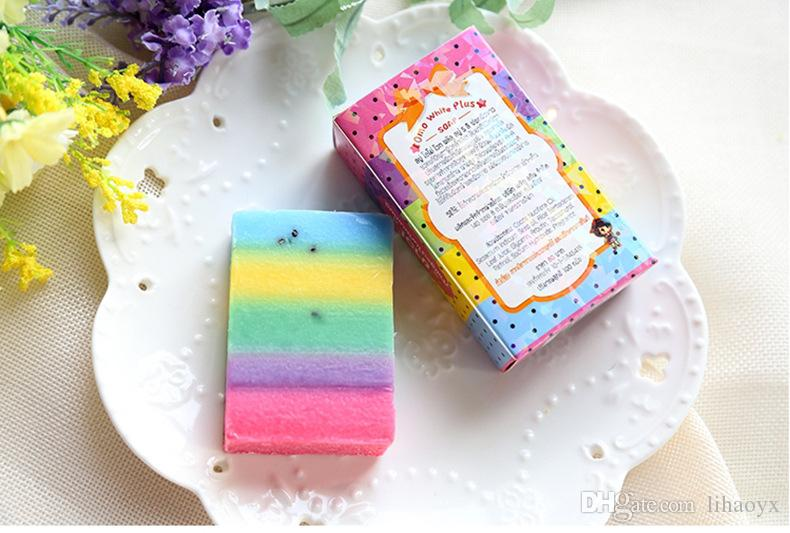 New Arrivals OMO White Plus Soap Mix Color Plus Five Bleached White Skin 100% Gluta Rainbow Soap with retail packing b146