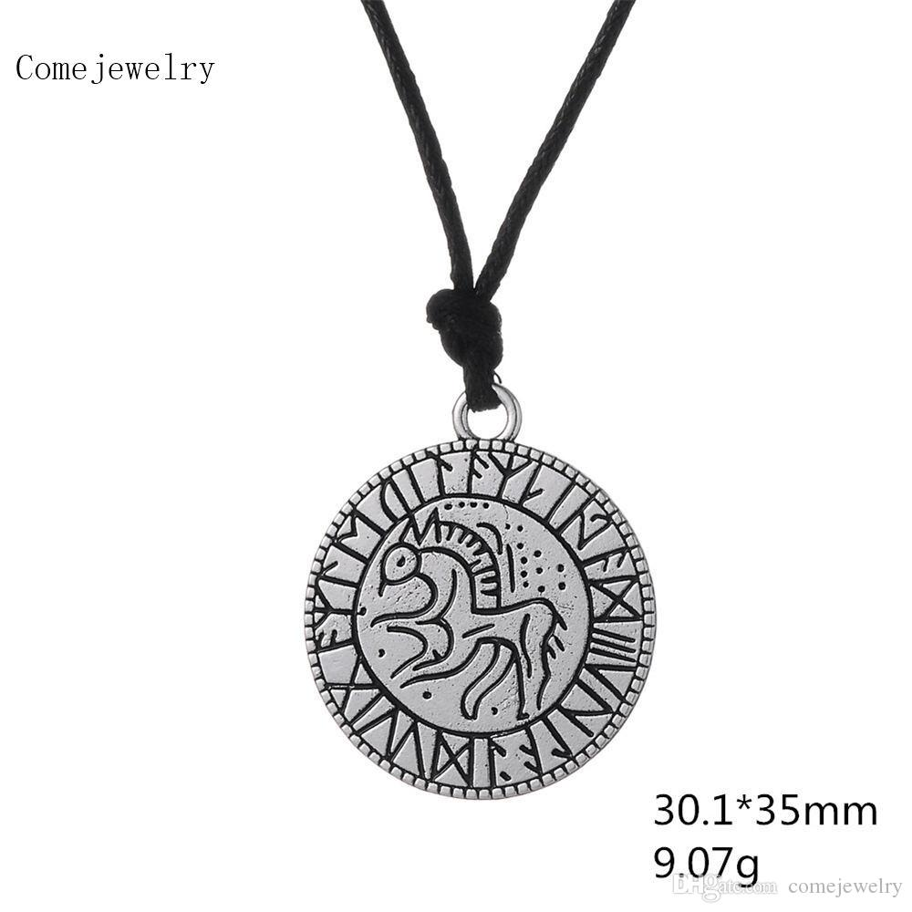 Medallion Amulet Horse Vikings Egyptian Necklace Viking Runic Pendant Runes European Style Jewelry Necklace for Men