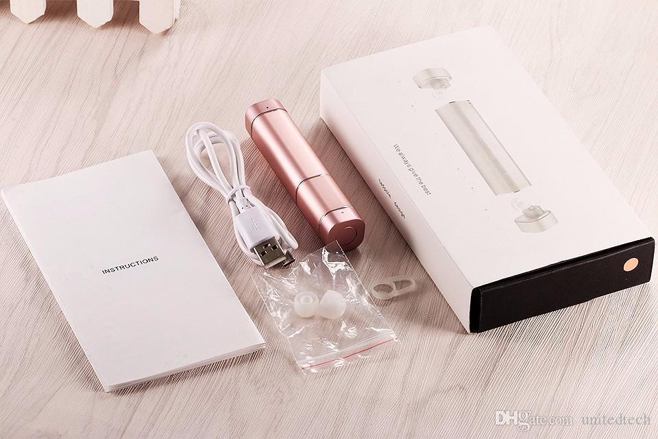 Luxus beste Geschenk Mini TWS K2 Twins drahtlose Bluetooth 4.1 Stereo Headset Lippenstift-Größe mikrafon In-Ear-Ohrhörer für iphone Samsung