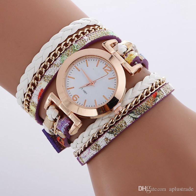 Einfaches Design Kleines Zifferblatt 2017 Frauen Leder Lange Riemen Armbanduhr Neue Großhandel Damen Kette Retro Seil Weave Dress Uhren