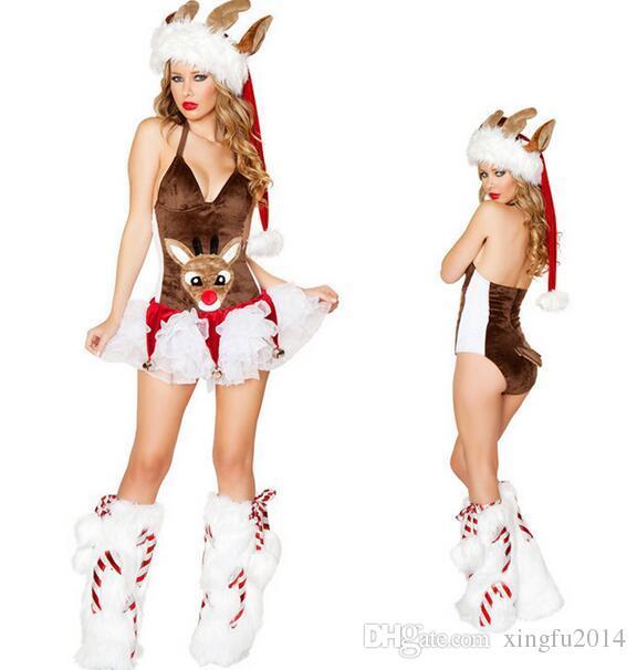 2017 Nuove donne adulte Costumi di renne Dreamy Snow Maiden Sexy Babbo Natale Vestito Costumi da donna Fancy Party