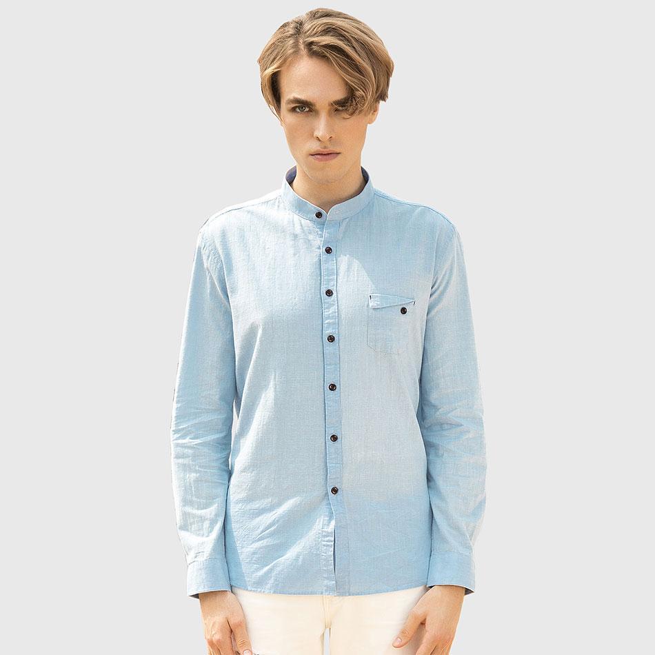 2018 Wholesale Men Slim Tailored Shirt Man Mandarin Collar Classic ...