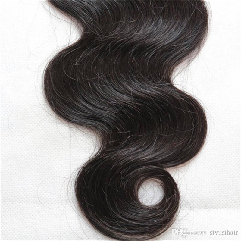360 Cordón Frontal Brasileño Virgin Body Wave Hair teje 3 o 4 paquetes con cierre Armadura de cabello humano 360 Cordón frontal con paquetes