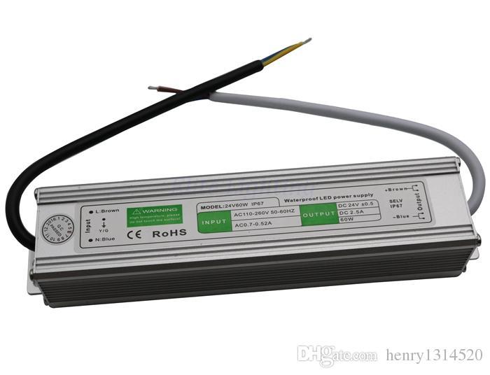 Ücretsiz kargo led güç kaynağı ip67 12 v 24 v 60 w su geçirmez led trafo aydınlatma transformatörleri