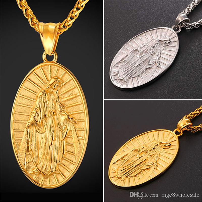 Wholesale u7 new hot blessed virgin mary pendant necklace yellow wholesale u7 new hot blessed virgin mary pendant necklace yellow goldenstainless rope chain for womenmen mother of god collares cross jewelry gp2460 gold aloadofball Image collections