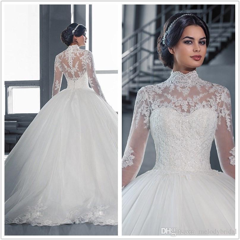 Long Half Sleeve Muslim Lace Wedding Dress High Quality: 2017 New High Neck Bridal Dress Long Sleeve Muslim Wedding