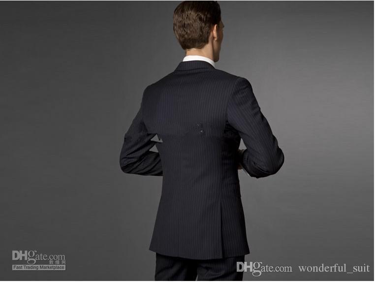 Custom made Men Fashion Business suit Men navy stripe Three-piece Suit  jacket + pants + vest