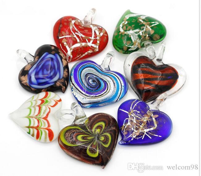 10 teile / los Multicolor Herz Murano Lampwork Glas Anhänger Für DIY Craft Schmuck Geschenk PG176
