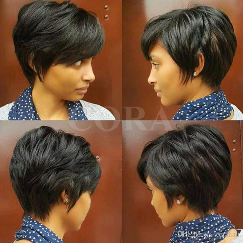Layered Short Pixie Cut Human Brazilian Hair Bob Wig African American  Virgin Glueless Wig None Lace Wig For Black Women Hot Sale
