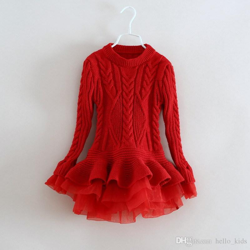 0a67bffe49c19 2019 New Fashion Baby Girls Lace Tutu Organza Sweater Dresses Childrens  Clothing 2017 Autumn Winter Long Sleeve Knitting Christmas Princess Dress  From ...