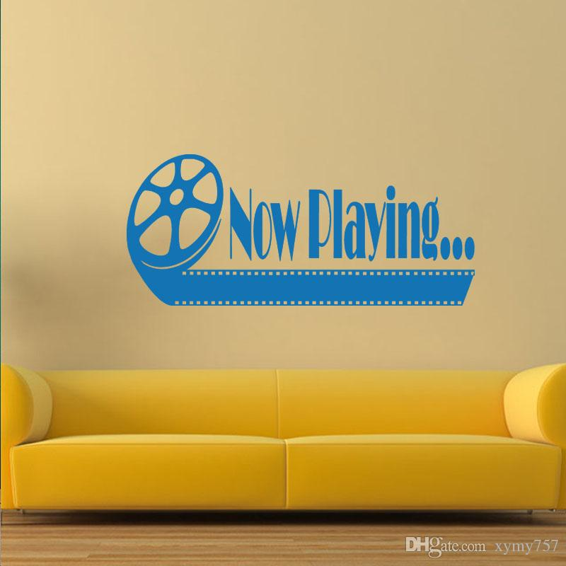 Cool Graphics Now Playing Home Theater Vinyl Wall Quote Decal Decor ...