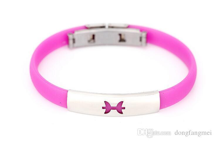 Hot sale Children adjustable silicone stainless steel twelve constellation bracelet FB367 a Slap & Snap Bracelets