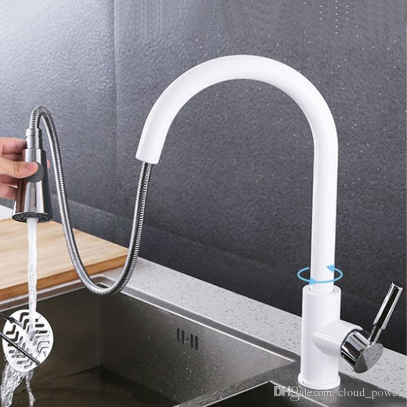 Pull Out Sprayer Kitchen Faucet Chrome Deck Mounted 360 Degree Luxury White Hot and Cold Stream Water Mixer Bathroom Tap Sink