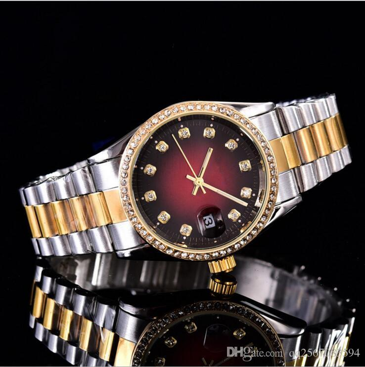 38mm fecha automática calendario moda de lujo Pulsera de oro y plata de la correa de acero de aleación movimiento cuarzo reloj maestro hombre regalos