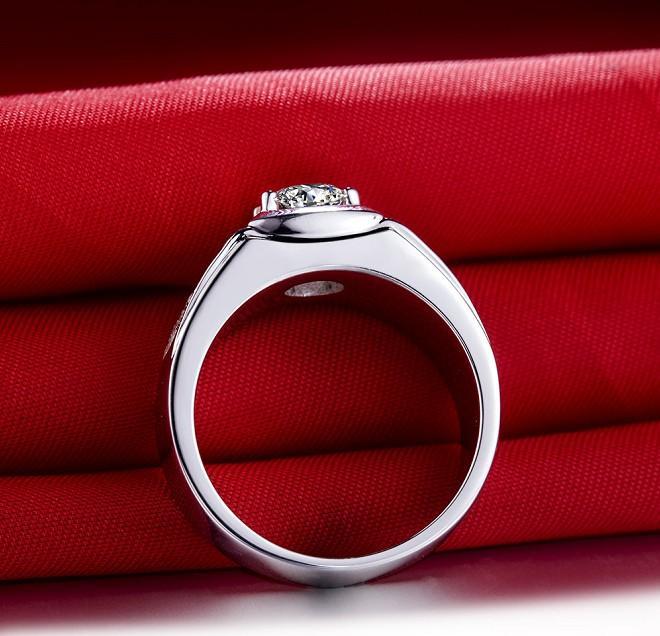 Manuel Mikro Kaplamalı Erkekler Için 1 ct Sentetik Elmas Takı Nişan Yüzüğü Gümüş Düğün Takı Yüzük 18 K Beyaz Altın Kaplama