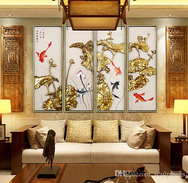 Handmade Abstract Asian Metal Wall Art Lotus Flower Iron Framed for Living Room of Home Decorations