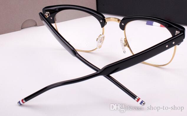 Frete grátis Óculos-Homens óculos de armação tb óptica TB016b leitura quadro de vidro perna primavera flexível oculos de grau 51mm semi-aro eyewear