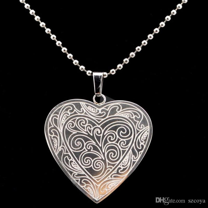 Heart Pendant necklace Women Jewelry Silver 316L Stainless Steel Necklaces Collares Engraved Heart Locked Pendant Necklace