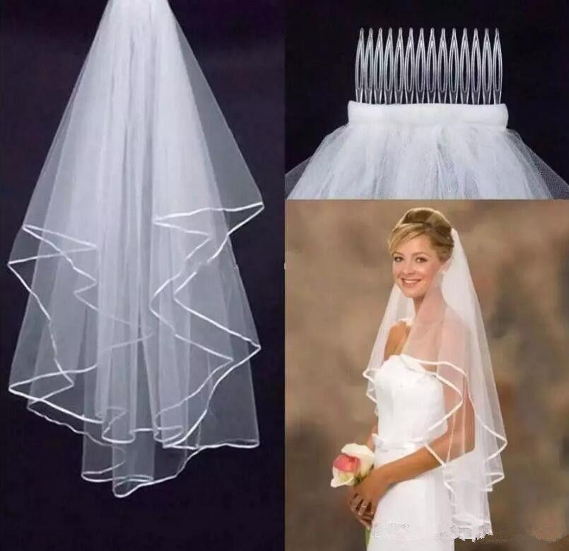 Бесплатная доставка 2 слоя тюль короткие свадебные вуали 2017 горячие продажа дешевые свадебные свадебные аксессуары для свадебных платьев дешевые свадебные Net в наличии