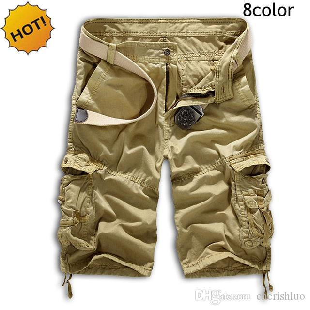 2c58684729 2019 HOT 2017 Summer Short Cotton Straight Multi Pocket Cargo Shorts Men  Army Tactical Camouflage Baggy Traning Trousers Man 10colo From Cherishluo,  ...