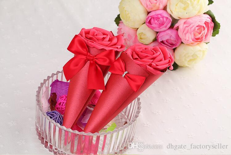 New Style Icecream Candy Boxes A Bouquet of Roses Candy Box Rose Cones Wedding Favor Holders