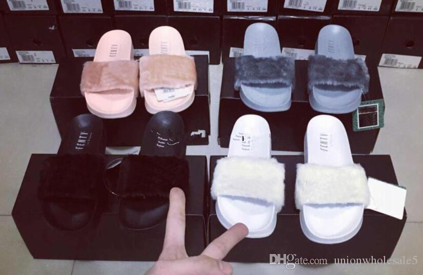 detailed look 18dc4 d9b65 Dropshipping Brand New 2016 Rihanna Fenty Leadcat Fur Slides - Pink, Black,  White Slide Sandal Womens Slippers retail