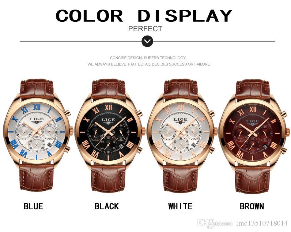 2019 Herrenuhren TopLuxury LIGE Multifunktions Chronograph Sportuhr Man Fashion Quarzuhren Herrenuhr Relogio Masculino. Herrengeschenk