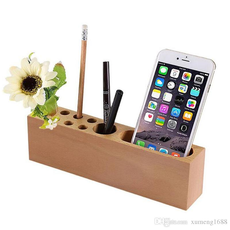 Wood Pencil Stand Holder For Desk Business Card With Office Pen 10 Slots Desktop Organizer By