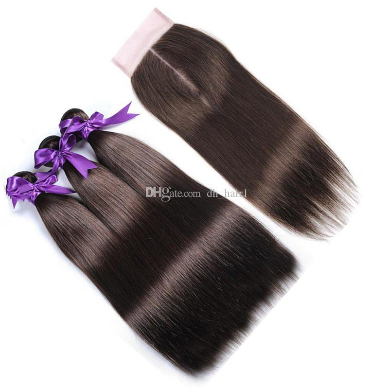 Chocolate Brown Indian Virgin Hair Bundles with Lace Closure #Medium Brown Straight Human Hair Weaves with Closure