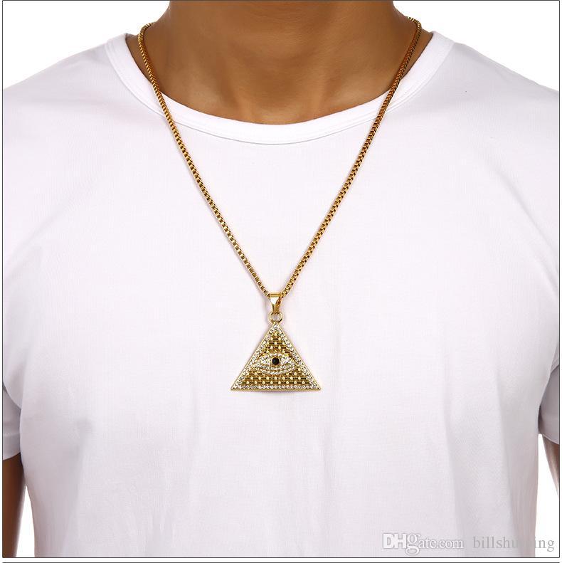 Antique Egyptien Pyramide Eye Of Horus Pendentif Collier Hip Hop Collier Cuban Curb Chain Bijoux livraison gratuite