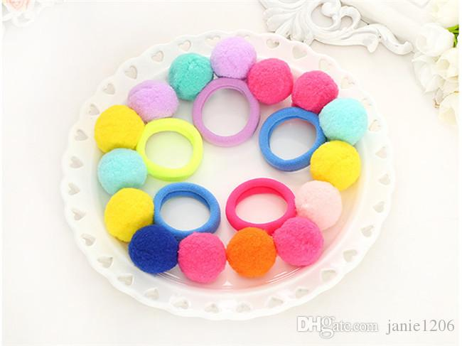 10 Pcs/lot Candy Color Pom Balls Girls' Elastic Hair Ties Kids Hair Ropes Accessories