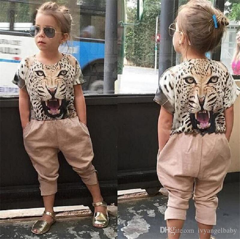 Fashion Baby Girl Clothes Set Leopard Suit Cotton Short-sleeved Tiger Print T-shirt+Pants Kids Mature Clothing Sets