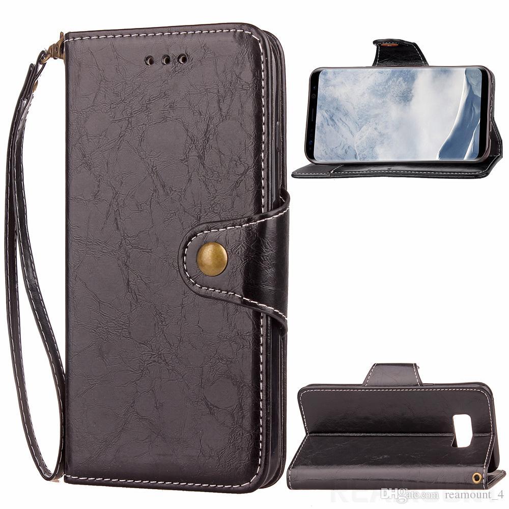 Großhandelsqualitäts-Retro Wachs-Öl-Schlag-Leder-Kasten für Samsung S8 S8 Plus-PU-Leder-Telefon-Abdeckung mit Kartenhaltern