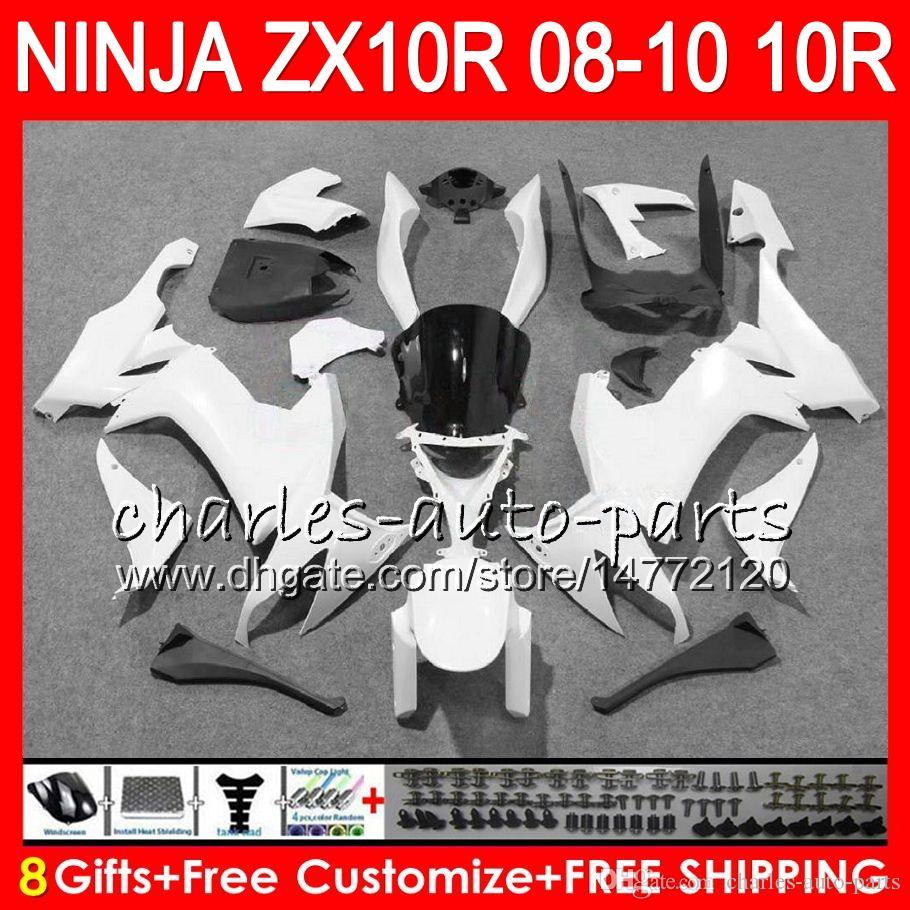 8Gifts Body Pour KAWASAKI ZX 10 R ZX10R 08 09 10 blanc brillant 47HM13 ZX 10R ZX1000 C ZX1000C ZX10R 2008 2009 2010 kit Carénage