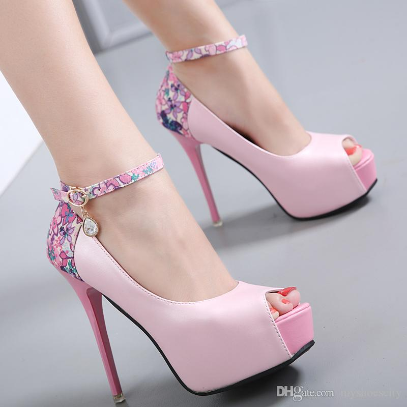 461f66839d6f Fashion High Heels Ankle Strap Peep Toe Pumps Floal Wedding Pink Blue Black  Shoes Size 34 To 39 Nude Shoes Womens Sandals From Myshoescity