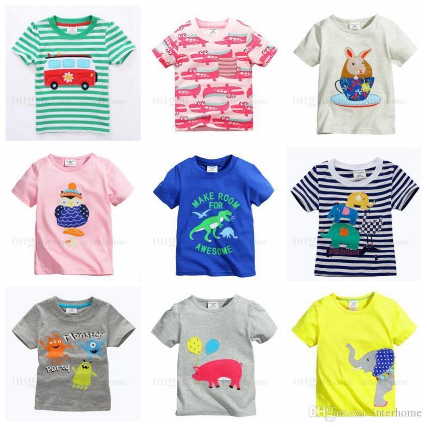 Compre Ropa Para Niños Pequeños Bebé De La Historieta Estampado Con Bordado  Camisetas Camisa De Algodón De Manga Corta Para Niños Niños Tops Lindos Ropa  40 ... 81a2ed8f1461d