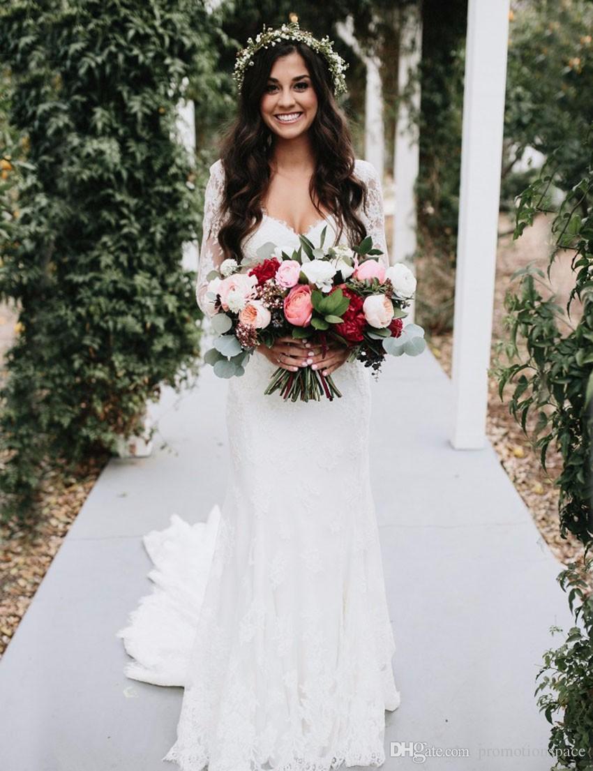 Robe De Mariage 2017 Frühling Weiße Spitze Brautkleid Vintage Spitze Langarm Mermaid Brautkleider Nach Maß