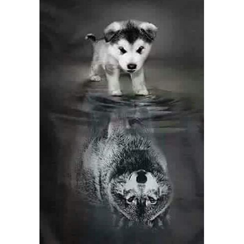 Diy Diamond Painting Embroidery 5d Reflection Dog Wolf