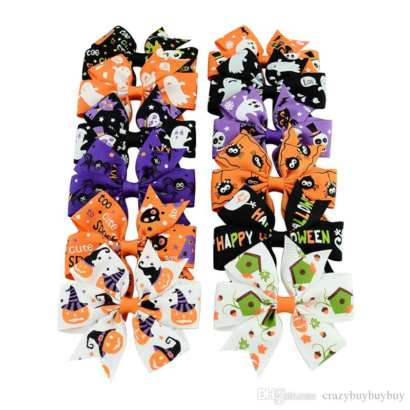 3 inch Baby Halloween Grosgrain Ribbon Bows WITH Clip Girls Kids Ghost Pumpkin Baby Girl Pinwheel Hair Clips Hair Pin Accessories KFJ105