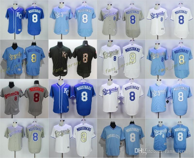 reputable site c27f6 d4ee9 get kansas city royals 8 mike moustakas light blue jersey ...