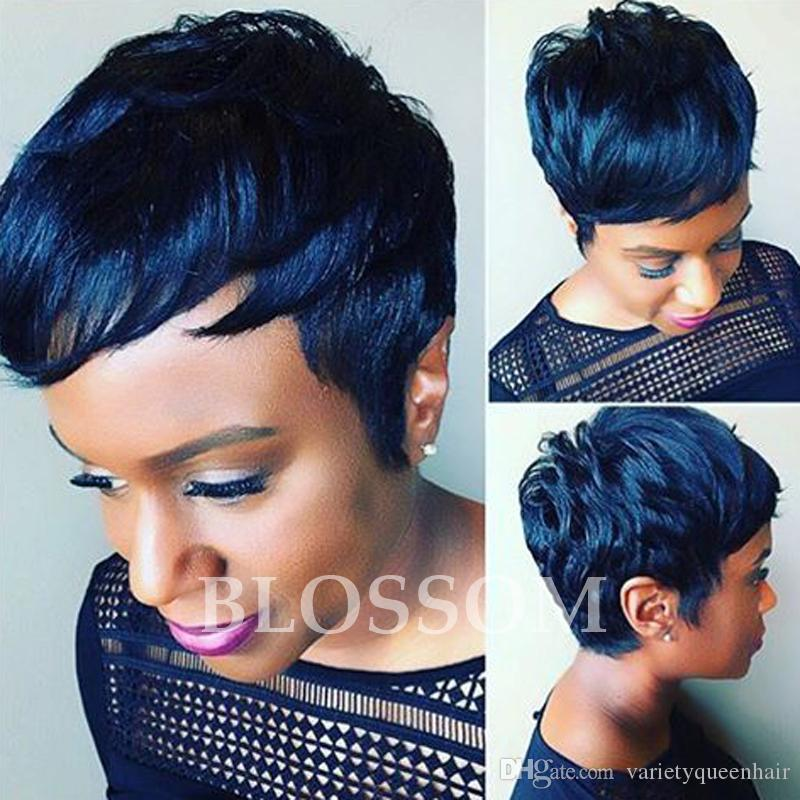 2017 New Arrival Rihanna Hairstyle Human Hair Wig Straight Short