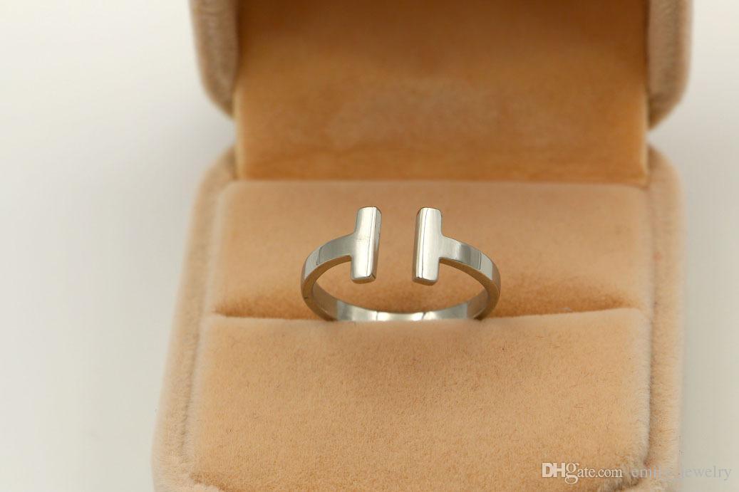 316L Edelstahl Mode Doppel T-Ring Schmuck für Frau Mann Liebhaber Ringe 18K Gold-Farbe und Rose Schmuck Bijoux kein Logo