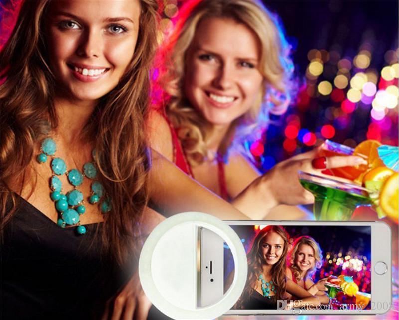 Clip-on LED selfie ring light lamp circle round LED flash light USB charging battery power spotlight for iphone 7 plus mobile pc ipad